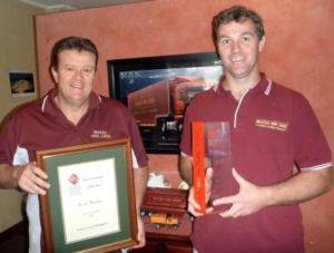 Scott Hamlin with his AFRA Employee of the Year award and Operations Manager, Patrick Safe with Noosa Van Lines 2011 AFRA Fleet of the Year Award